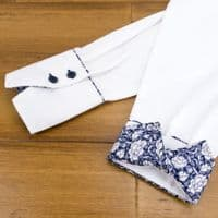 Grenouille Ladies Long Sleeve White Shirt with Navy & White Victorian Flower Print Detail
